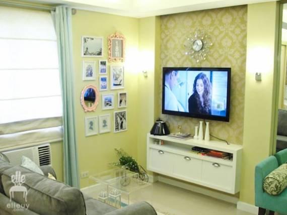 Cor Verde Para Sala De Estar ~ Para valorizar o espaço pequeno, use as paredes brancas e detalhes em