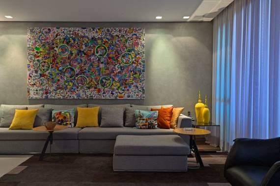Sala De Estar Com Quadros Modernos ~ CORES PARA SALA DE ESTAR e TV 60 Dicas e Foto