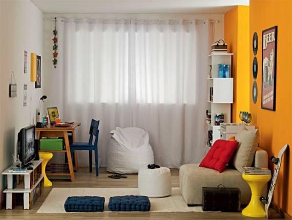 Sala De Estar Com Detalhes Amarelo ~ CORES PARA SALA DE ESTAR e TV 60 Dicas e Fotos