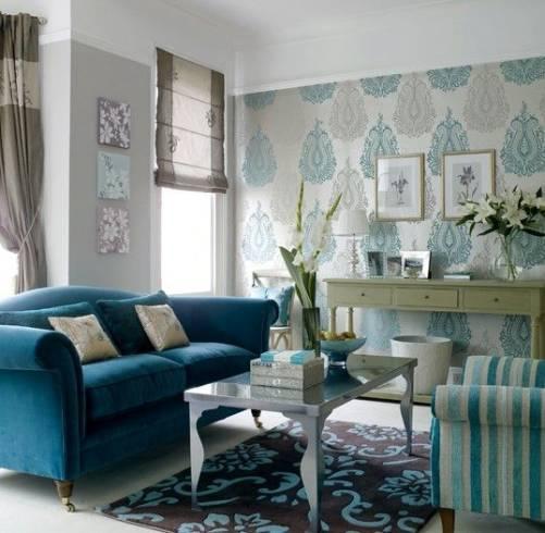 sala azul e marrom