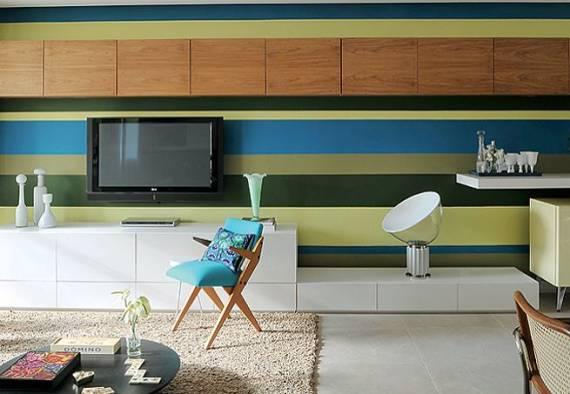 sala com listras coloridas