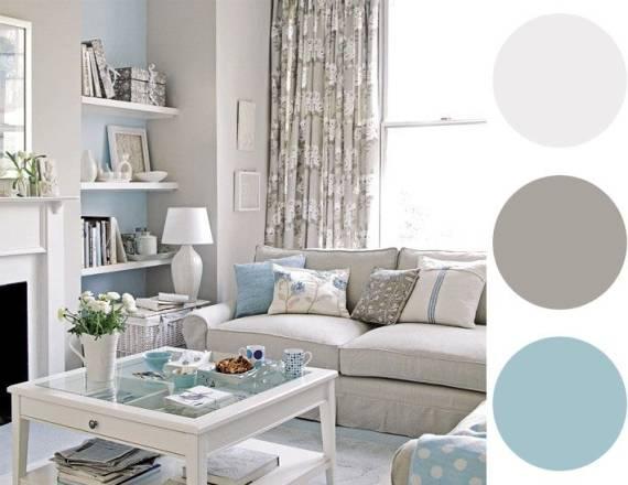 uma mistura neutra na sala de estar, a mistura de branco, cinza e azul