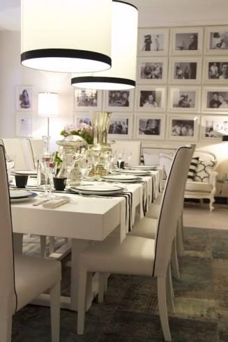 decoração de quadros com fotos na sala de jantar