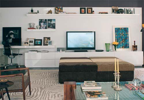 Sala De Estar Com Home Office ~ painel e as estantes da sala de televisão também podem ganhar