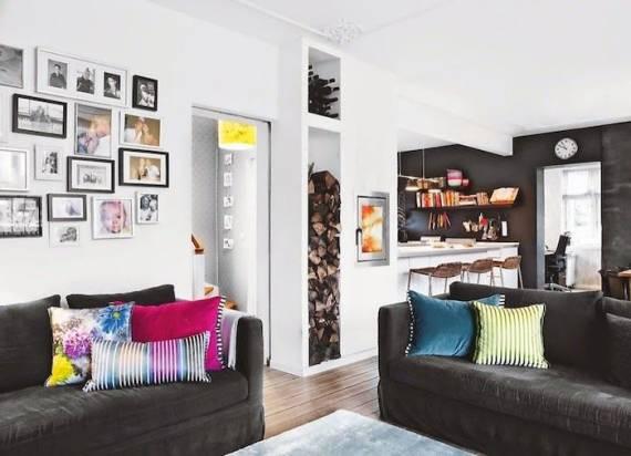 fotos decorando a parede da sala