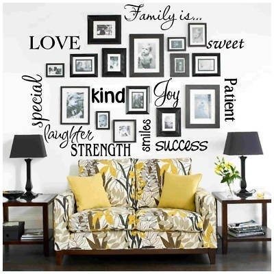 fotos e adesivos de parede na sala