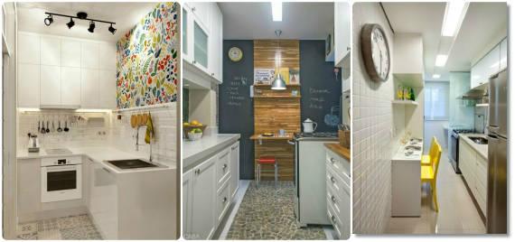 DECORA u00c7ÃO DE COZINHA PEQUENA 50 Dicas e Fotos -> Decoração Cozinha Pequena Barata