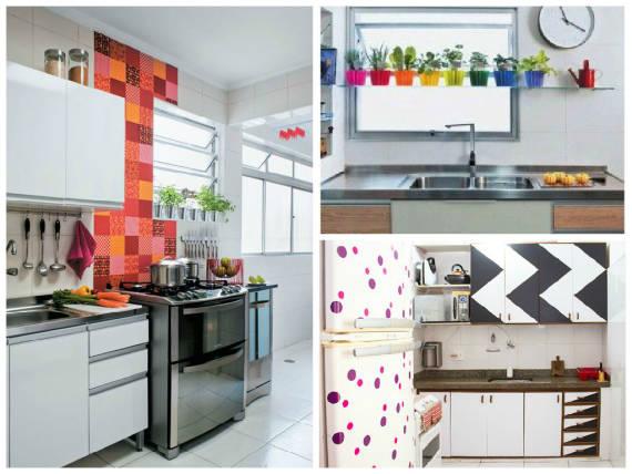 ideias com contact para decorar cozinha pequena