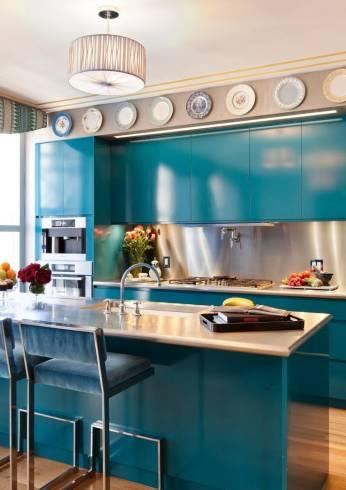 cozinha pequena azul