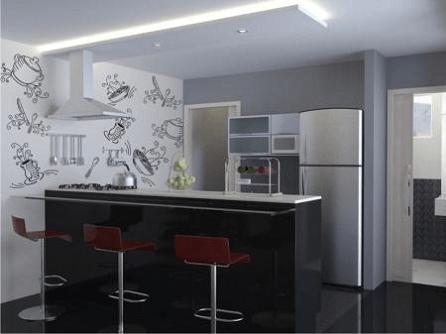 decoração em preto e branco para cozinha pequena