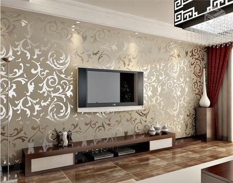 papel de parede com arabesco metalizado