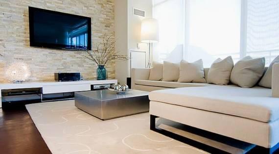 papel de parede de pedras claras na sala