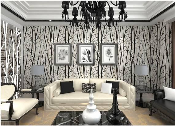papel de parede 3D branco e preto na sala