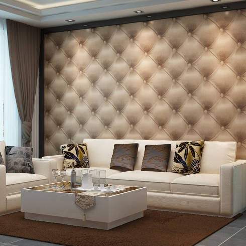 papel de parede capitonê 3D na sala