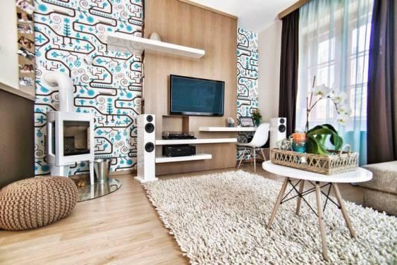 papel de parede moderno e jovem na sala