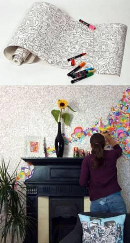 papel de parede de pintar na sala