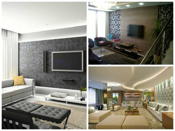 Sala Com Tv Na Parede ~ modelos de papel de parede de arabesco para a sala