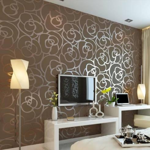 papel de parede floral moderno para sala