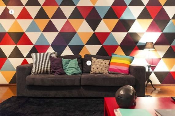 papel de parede de triângulos na sala
