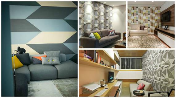 modelos de papeis de parede geométrico para sala