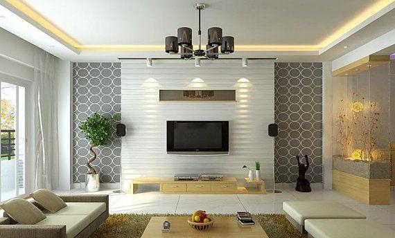 papel de parede cinza e geométrico na sala