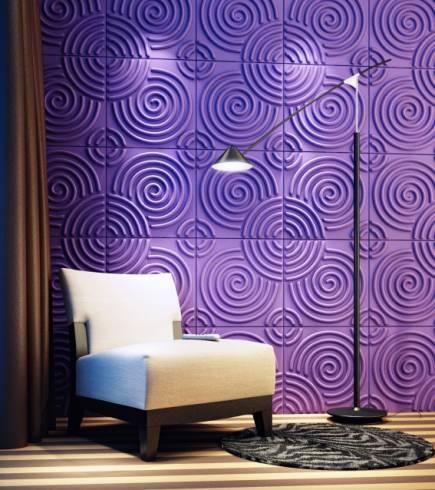 placas de revestimento 3D em espiral roxo