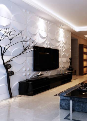 linda sala decorada com placas de revestimento 3D