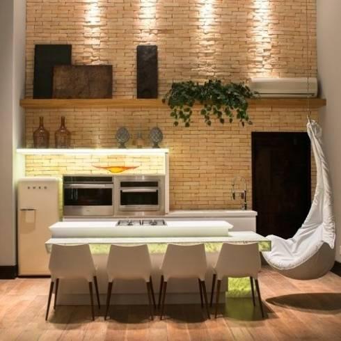 tijolo tradicional aparente na cozinha