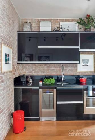 parede tijolo a vista cozinha com junção cheia