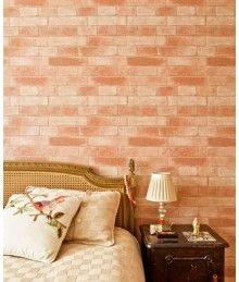 quarto com papel de parede de tijolo aparente