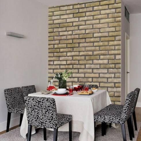 papel de parede de tijolo aparente na sala de jantar