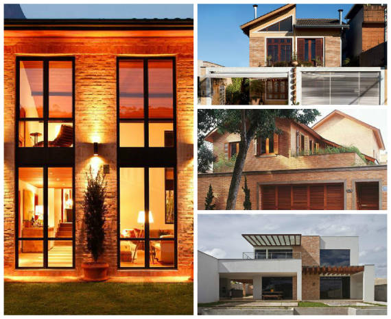 ideias de fachada com tijolo a vista