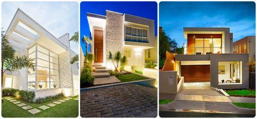 fachada casas com telhado embutido