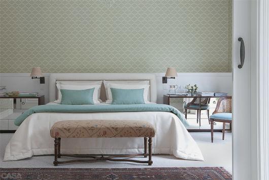quarto de casal azul e verde
