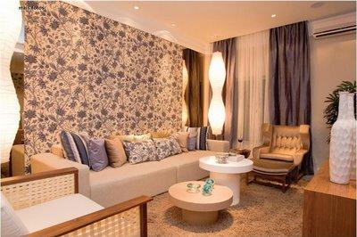 decoração sala com parede azul