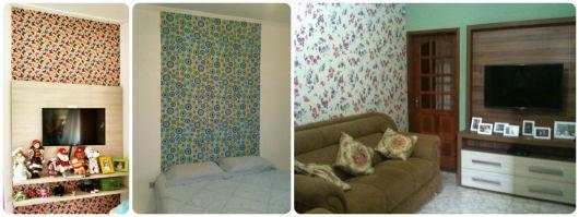 ideias para usar parede decorada tecido