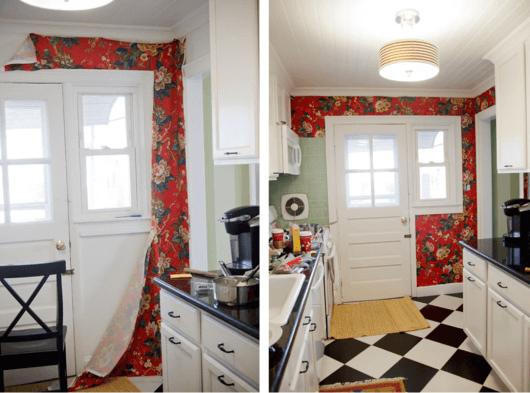 tecido na parede da cozinha