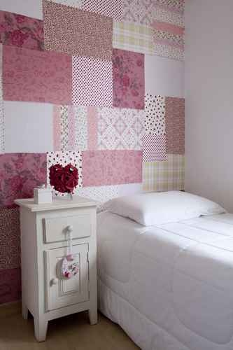 parede rosa tecido quarto menina