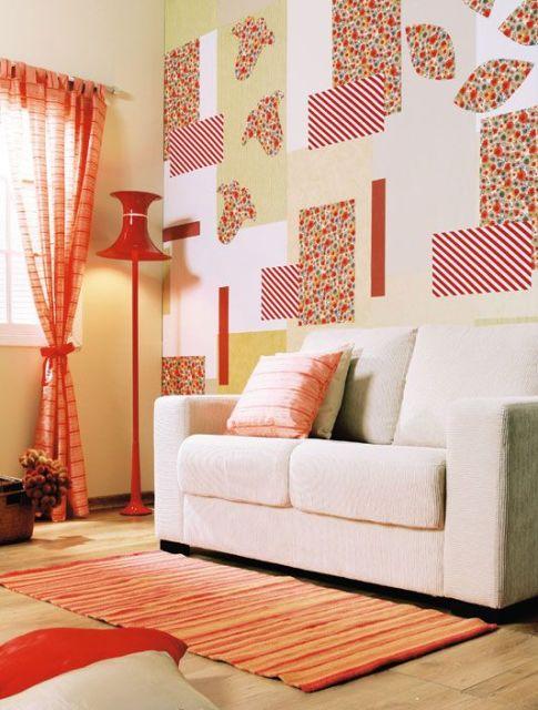 parede patchwork tecido
