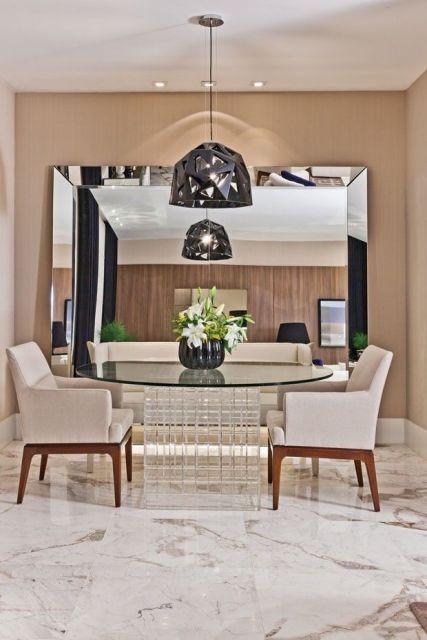 Espelhos Para Sala De Jantar Fotos ~ um toque mais delicado a parede de tijolos a vista? A combinação de