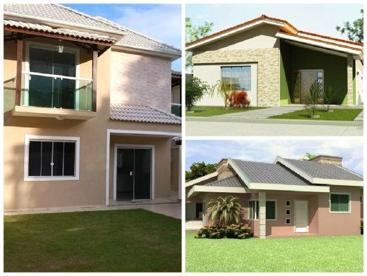 modelos de fachadas de casas simples com telhado aparente