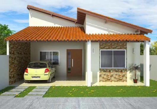 casa simples com telhado de cerâmica