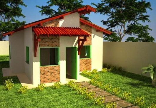 casa simples tijolo a vista
