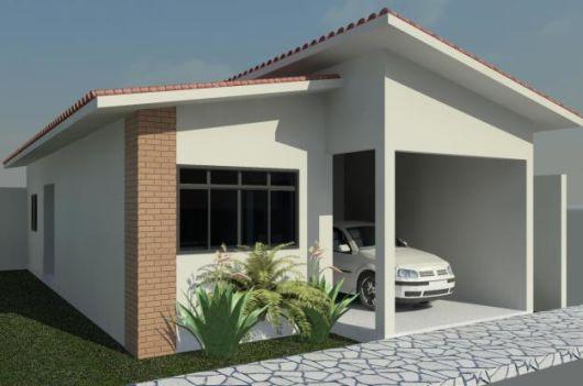 projeto casa pequena com tijolo a vista