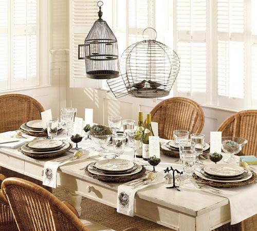 gaiola na mesa de jantar