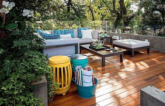 decoração varanda banco de jardim