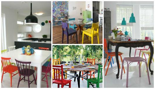 ideias para usar cadeiras coloridas sala de jantar