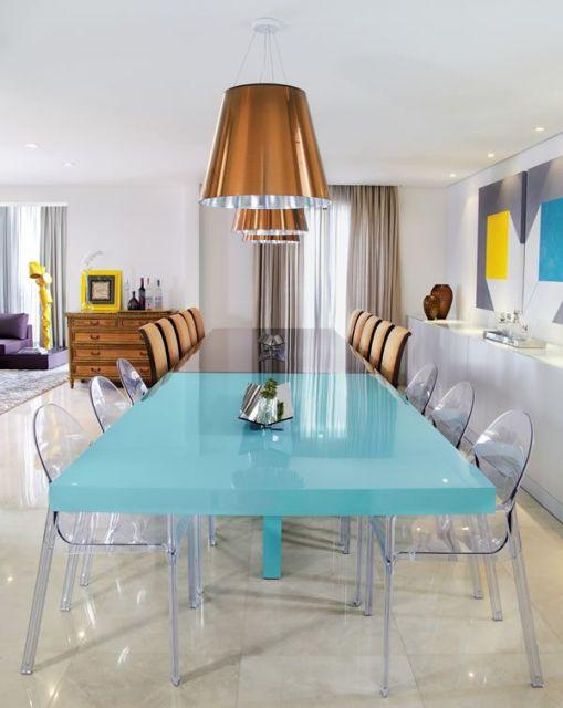 60 mesas de jantar modernas dicas e fotos for Pedestales metalicos para mesas