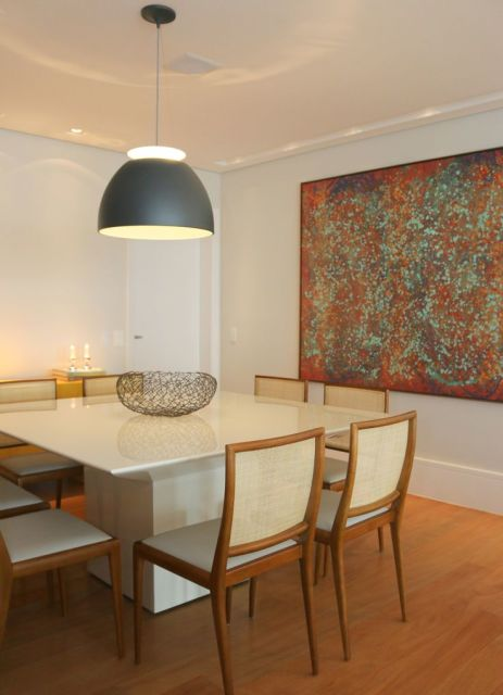 Sala De Jantar Mesa Branca ~  composição das cadeiras também muda conforme a cor da mesa