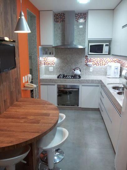 60 modelos de cozinhas projetos e fotos - Mesa para cocina pequena ...